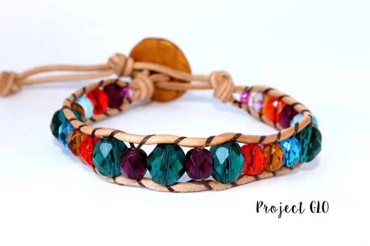 Leather Multicolor Glass Beads Wrap Bracelet di Project GLO su DaWanda.com
