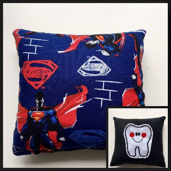 Superman Tooth Fairy Pillow Tooth Pillow Pocket by kuddlebumz #toothpillow #supermandecor #kidsroom