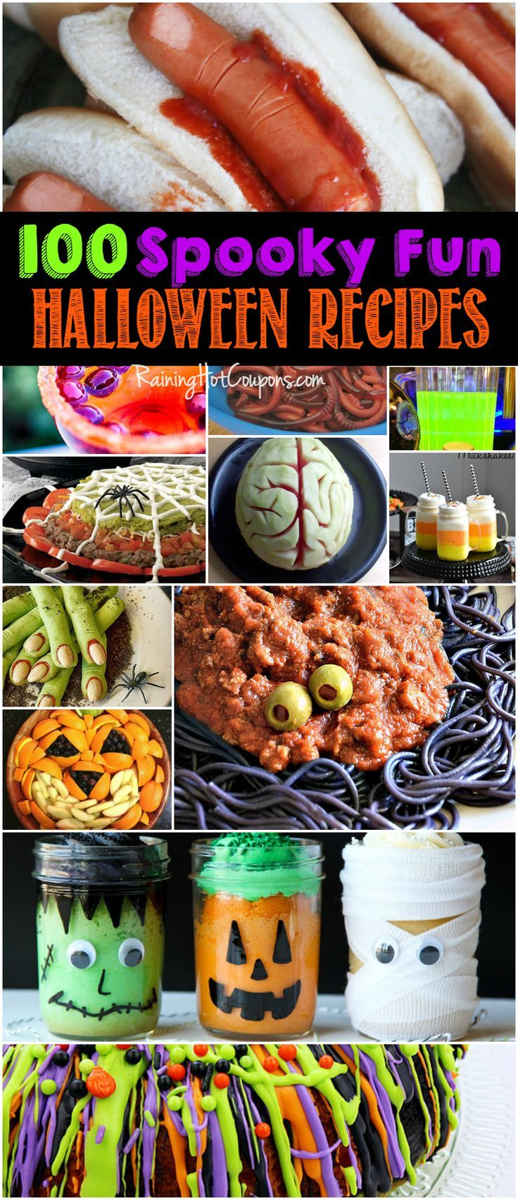 100 Halloween Recipes - Huge list of spooky, fun and unique Halloween recipes. Everything from Edible eyes and fingers to spider dip and candy corn milkshakes!