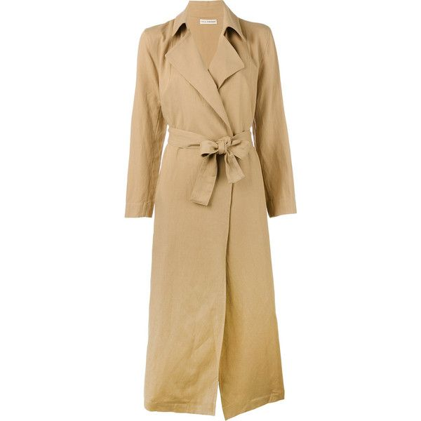 Ulla Johnson Maude trench coat ($598) ❤ liked on Polyvore featuring outerwear, coats, brown, brown trench coat, brown coat, ulla johnson and trench coats