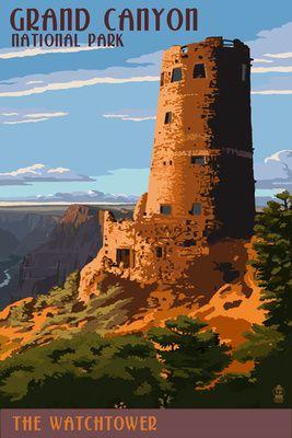 Desert View Watchtower - Grand Canyon - Lantern Press Poster
