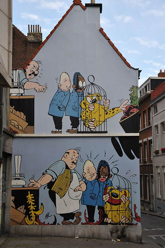 """Blondie & Blink,"" created by Jijé, in Brussels, Belgium - photo by Wim de Koning Gans, via pbase;"