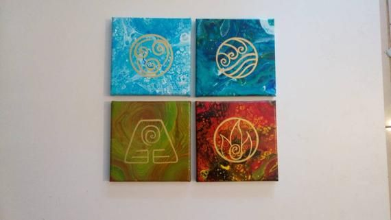 Acrylic Pour Air Water Earth And Fire Paintings The 4 Etsy Fire Painting Acrylic Pouring Painting