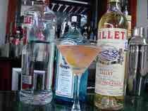 VESPERIngredientes:  3 oz. Ginebra (Tanqueray) 1 oz. Vodka (vodka 100-proof. Trata Absolut 100 o Stolichnaya 100 proof) 0.5 oz Lillet Blanc 2 gotas de Angostura Twist de lima Preparación:  En una coctelera, pon todos los ingredientes. Agrega hielo. Agitar fuertemente. Colar en copa martini. Servir con twist de lima.