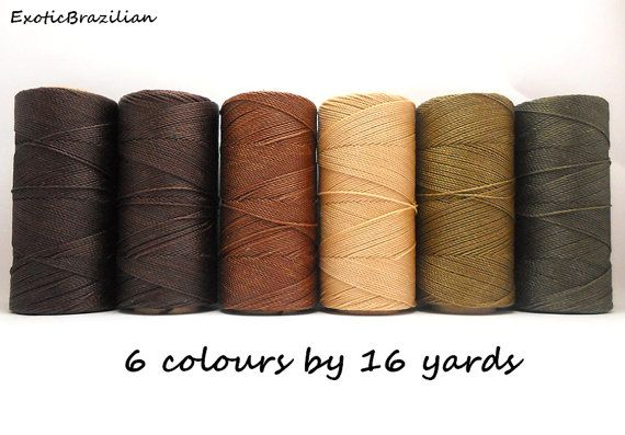 Macrame supplies set of 6 colours x 16 yards waxed polyester