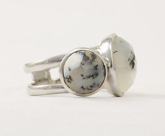 Bague opale dendritique en argent 925 Bague bandeau avec pierre naturelle