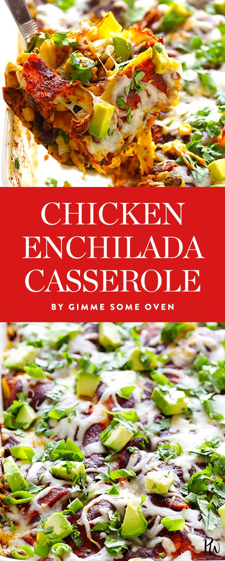 Get the recipe for this delicious, gluten-free chicken enchilada casserole and more easy Christmas dinners that basically cook themselves. #christmasdinners #chickenenchilada #chickenrecipes #holidayrecipes #casserolerecipe #christmasrecipes