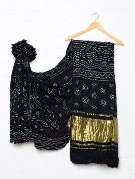 Black Gajji Silk Bandhani Saree