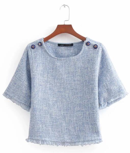 Blusa Kimono Blouse Blusas Soft Woolen Solid Button Mujer De Moda Shirt Tops Blouses Plus Size Blue S 3