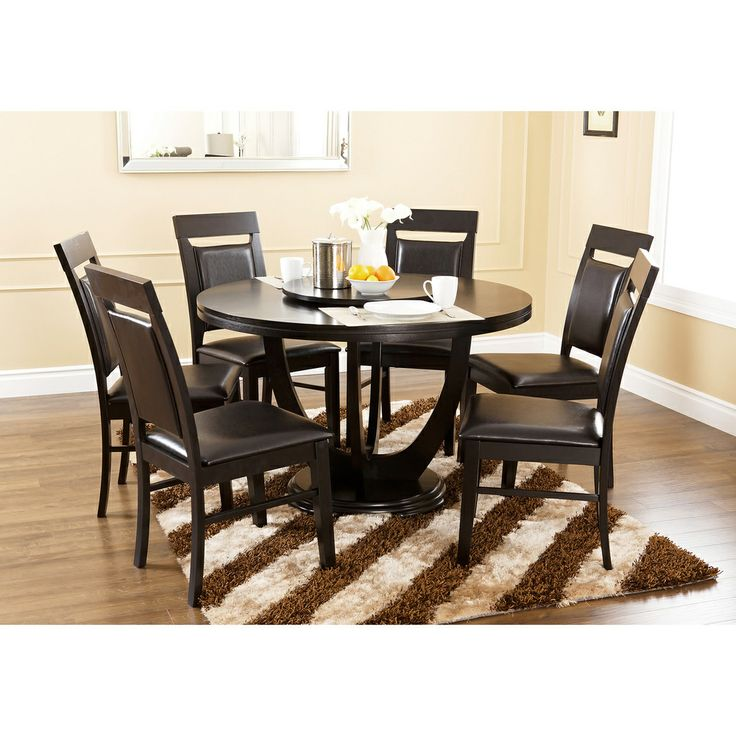 Abbyson Living Calvin 7 Piece Round Dining Set With Lazy Susan
