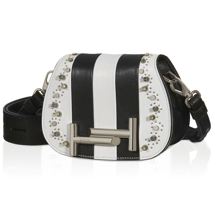 Tod's Micro Double T crossbody bag in smooth leather featuring a contrasting striped design, crystals and metal pins and flap with iconic magnetic fastening in branded metal. Chic and versatile, the Double T can be carried on a belt around your waist or crossbody style thanks to the removable strap with vertical perforations. #THELUXER #ITALIANSTYLE
