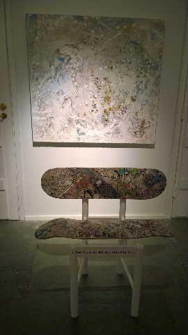 """Pèriphérique-set:  """"Winter"""", mixed media on canvas (5 x 100 x 110 cm)"""