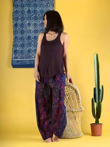 Pantalon bouffant laine imprimé papillons