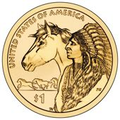 "The fourth in a series of annual Native American dollar design reverses features profiles of a Native American and a horse to mark the theme ""Trade Routes in the 17th Century."""