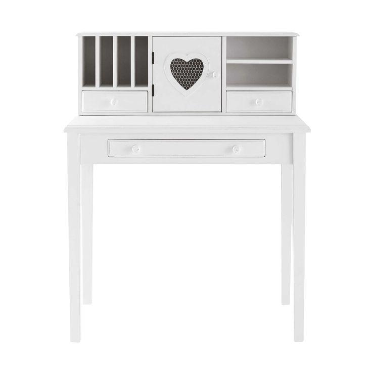 Witte houten schrijftafel B ... - Valentine