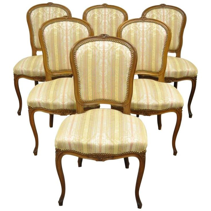 set of six carved walnut french louis xv style dining side chairs circa