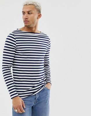 ffba04fdc3f DESIGN Organic cotton stripe long sleeve t-shirt in navy and white with  boat neck in 2019