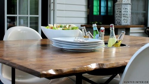 DIY Edge Table with ice bucket center-  Brittany Makes/Hunter Designs