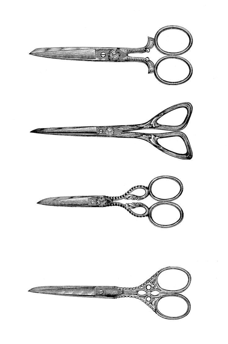 Digital Stamp Design: Free Scissors Digital Stamp: Printable Scissors Collage Sheet of 4 Vintage Scissors Designs