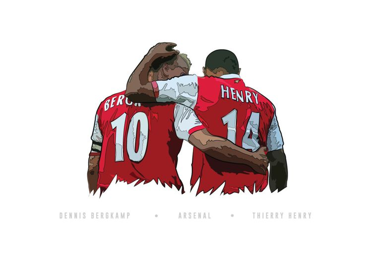 Digital illustration of Dennis Bergkamp and Thierry Henry  This and other new prints available from my print shop