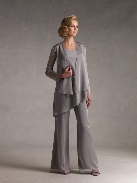 My mom would look beautiful in thisGray Chiffon, Brides Pants, Classic Silver, Brides Dresses, Pantsuit, Silver Gray, Chiffon Mothers, Pants Suits, The Brides