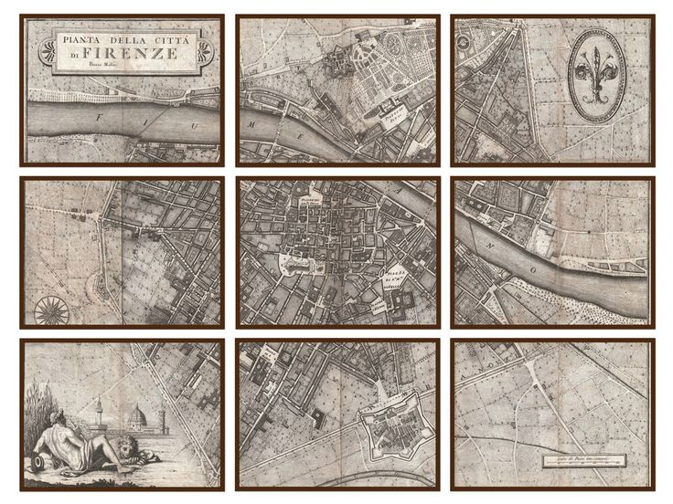 Antique map of italy - Love the idea of putting a map in multiple frames on the wall
