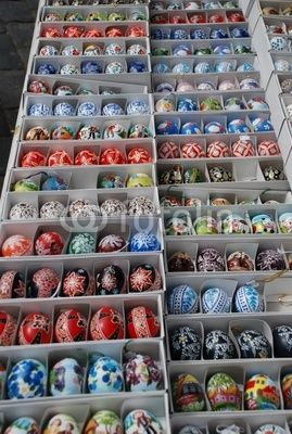 Open space market, many typical painted eggs