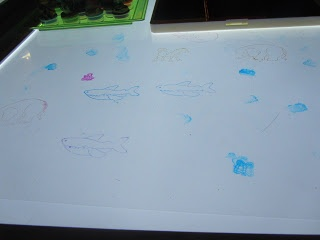 Light table stamping - transparencies