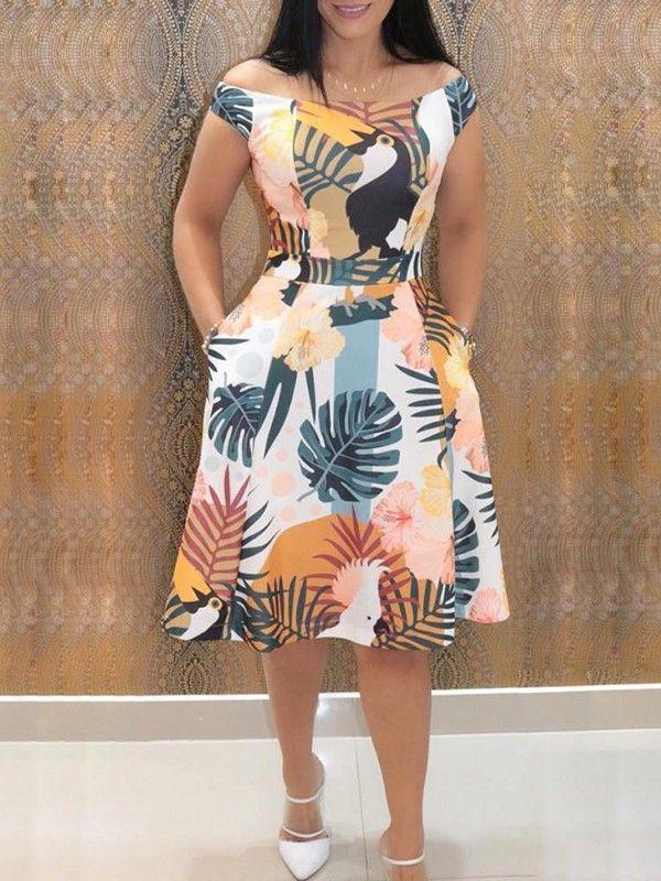 Vestidos Casuales De Bolsillo Con Estampado Mixto En 2019