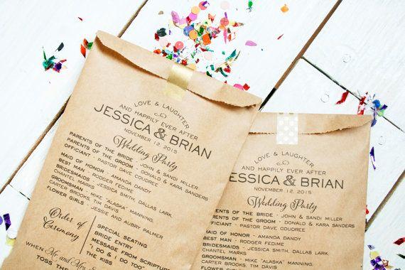 Confetti Toss Program Bag Hooray Design Kraft Program by mavora