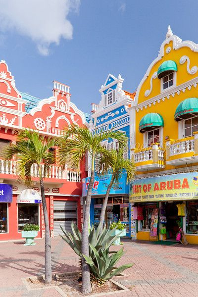 -The streets with dutch architecture in Oranjestad, Aruba, Netherlands Antilles..