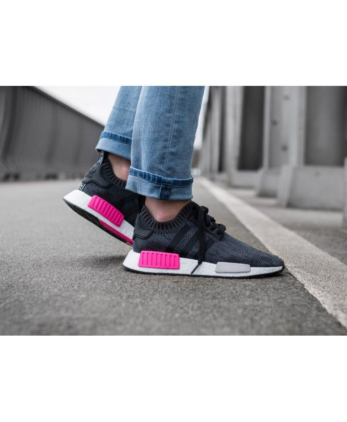 Adidas NMD R1 Womens Core Black Shock Pink Shoe  439651d04
