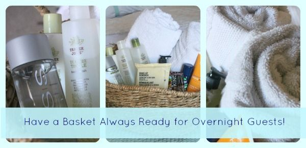 """Creating a Guest Basket for Overnight Guests. """"I keep a fully stocked 'Guest Basket' at all times so that no matter the short notice I have a comfortable sleep-over situation for any last minute overnight guests.""""  from somewhatsimple.com"""