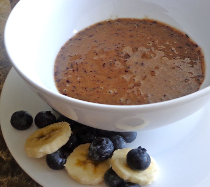 Blueberry banana blend - Add about 3/4 cup of blueberries and half of a banana to the blender. Puree until the fruit is completely mixed.