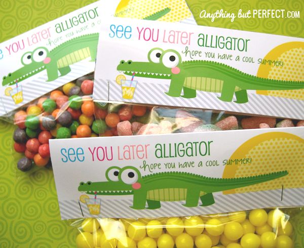 see you later alligator - end of year treat bag printablesTeachers Gift, Treats Bags, Treat Bags, Bag Toppers, Gift Ideas, Bags Toppers, Schools Treats, Schools Years, Years Treats