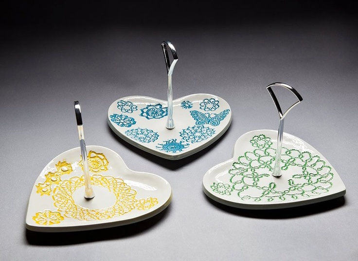 Heart Cake Stands by Borrowed Earth with lace patterns $50