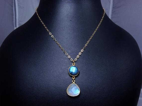 Rainbow Moonstone Sterling Silver Vintage Style Bezels Pendant /& Earring Set on 18 Chain and Earring Wires June/'s Birthstone