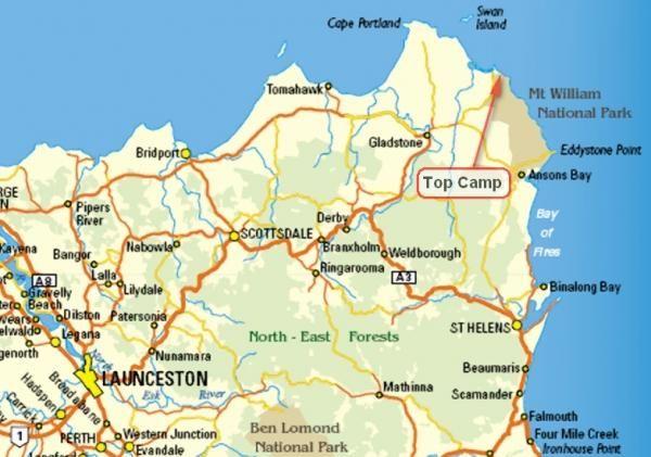 Mount William National Park Map, Tasmania, Australia