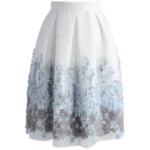 Chicwish Lavender Paradise Organza Pleated Skirt ($45) ❤ liked on Polyvore featuring skirts, white, white skirt, lavender skirt, flower skirt, white knee length skirt and light purple skirt