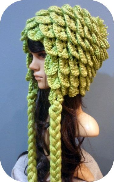 crocodile stitch crochet hat - very clever and very cute. I like the color, too.