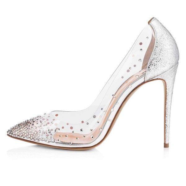 f3b725edbd87d Silver Clear Heels Rhinestones Stiletto Heel Pumps for Work, Date ...
