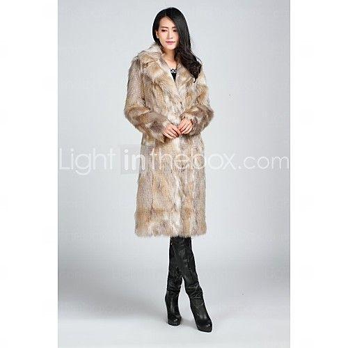 abrigos de piel de imitación de las chaquetas de piel de manga larga de piel falsa negro / almendra - USD $ 117.99