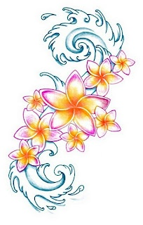 Plumeria Tattoo . Dnt care to much for the waves but the color of the plumerias I like :)