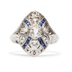 Vine vintage Sapphire ring  | Trumpet & Horn