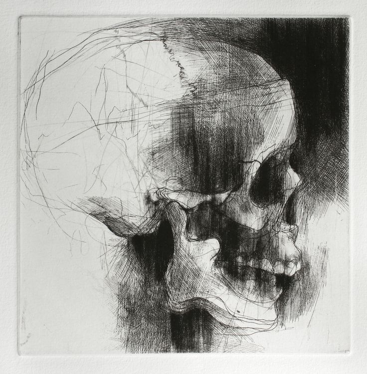 Jake Muirhead, 'Skull', etching and drypoint