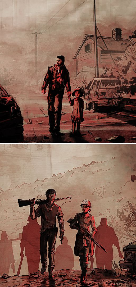 """""""Eagle-eyed fans will recognize that the poster revealed today is an homage to the original poster for The Walking Dead when the concept was first shown at SDCC in 2011. In contrast to the original, Clem is no longer being protected, and stands shoulder to shoulder with mysterious newcomer Javier.""""  #twd"""