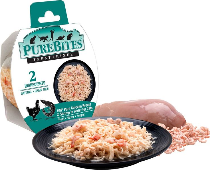 PureBites Mixers 100% Chicken Breast & Shrimp in Water Cat Food Trays are convenient single-portion wet food trays that make the perfect addition to your cat's regular daily diet. You'll only find three natural ingredients on the label—100% pure chicken breast and wild ocean shrimp plus water—so your cat will get all the delicious protein-rich meat she deserves without grains, fillers or unhealthy ingredients that you typically find in wet food. At only 27 calories per tray, PureBites is ...