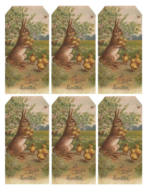 33 best easter labels easter label templates images on pinterest free vintage easter bunny chicks gift tags negle Choice Image