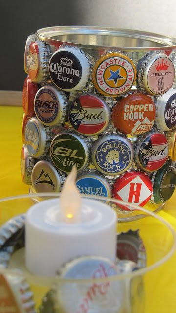 Can for bottle caps. Beer Tasting Birthday Bash
