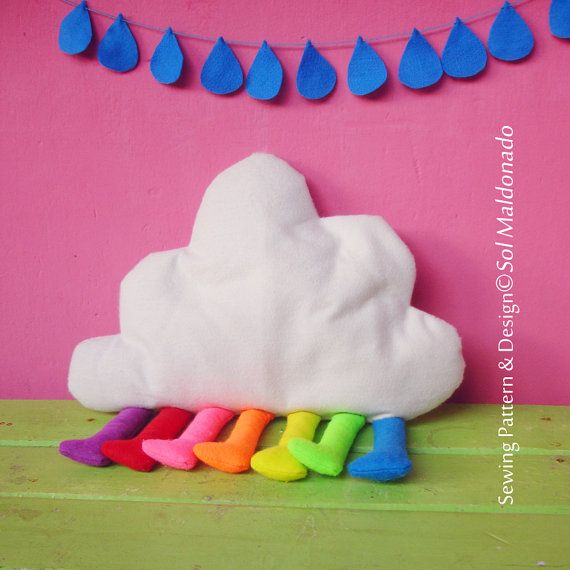 Cloud Pillow Rainbow or Toy  felt sewing pattern PDF  by Soles, $7.00